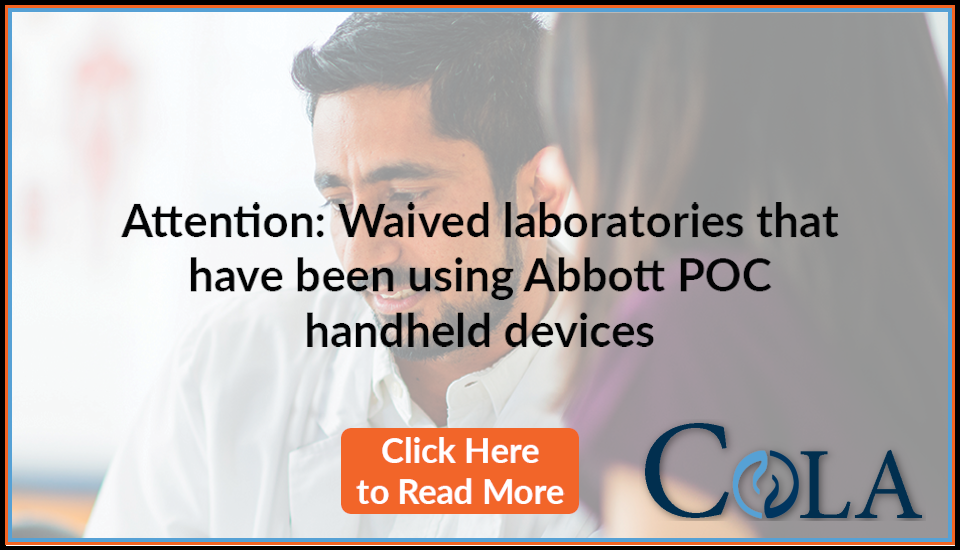 Message for Waived Laboratories using Abbott POC handheld devices